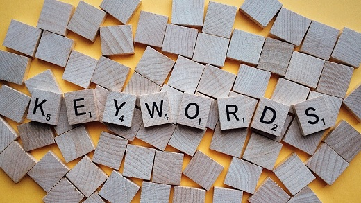 Alfapet med texten keywords